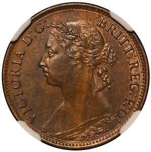 1885 Great Britain Farthing Bronze Coin - NGC UNC Details - KM# 753