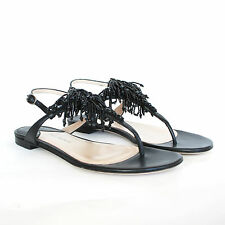PAUL ANDREW $1,295 beaded fringe black rhinestone crystal thong sandals 37 7 NEW