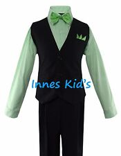 Boys Solid Navy/Black Vest Suit Set with Checker/Stripe Dress Shirt Tie Wedding