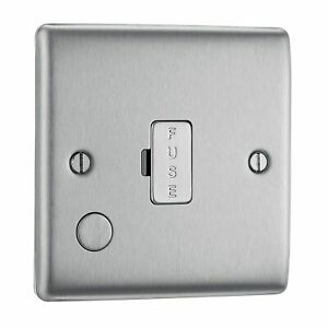 Masterplug NBS55 13 A Metal Brushed Steel Unswitched Fused Connection Unit...