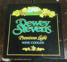 Dewey Stevens Premium Light Wine Cooler Lighted Sign pabst Miller Budweiser
