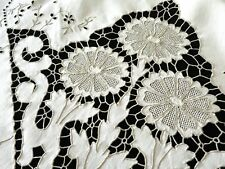 """Flowers in Cutwork Antique Madeira Embroidery Linen Tablecloth 64x86"""""""