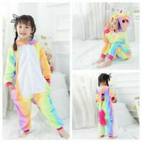 Animal Kigurumi Kids Pajamas Cosplay Costume Unicorn Sleepwear Rainbow Pyjama
