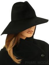 NEW GUCCI LUXURY BLACK LAPIN FELT ASYMMETRICAL WIDE BRIM FEDORA HAT 57/M MEDIUM