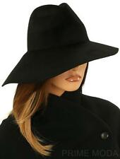 NEW GUCCI LUXURY BLACK LAPIN FELT ASYMMETRICAL WIDE BRIM FEDORA HAT 56/S SMALL