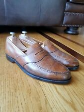Vintage Crockett & Jones Brown Pebbled Leather Penny Loafers New Leather Soles