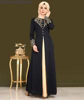 Women Gold Print Cocktail Vingate Long Dress Dubai Abaya Islmaic Muslim Kaftan