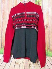 New Men's Chaps by Raulph Lauren Red Zipper Neck Sweater Size L 100% Cotton