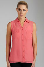 Emerge Sleeveless Chiffon Shirt with Detachable Camisole - Size 18 - Coral