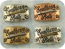 2 Hole Beads Southern Belle & Arrow Engraved 3T Metal Sliders Charm Magnet QTY 4