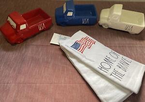 RAE DUNN Set Of 3 Patriotic Trucks AND patriotic Hand Towels Set
