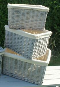 Selection of Buff Grey Lined Wicker Baskets in various sizes  Beautiful Storage