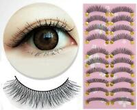 Long Thick Cross 10 Pairs Makeup Beauty False Eyelashes Eye Lashes Extension UE