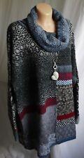 Designer Damen Pullover, Strickpulli,Farbe Bunt,Rollkragen,Gr. 50-52