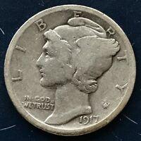 USA 1917 Mercury Dime Philadelphia 10 Cent Silber Selten Gute Erhaltung #10101