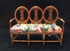 Bespaq Miniature Dollhouse settee with antique petit point - needlepoint.