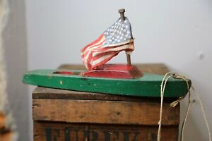 Vintage Wood Sailboat Yacht Pond Boat with American Flag Antique toy model green