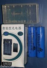 SET 2 Batterie UltraFire 18650 - 3.7 V. da 3000 mAh. + caricabatterie + Custodia