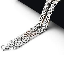 7ca62e9535da Collar Colgante Cadena Hombre Acero Inoxidable 8mm Greek Key Byzantine 59cm