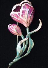 NWT DANA BUCHMAN LAVENDER PURPLE ROSE CROCUS TULIP FLOWER PIN BROOCH JEWELRY 3.5