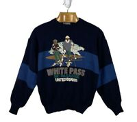 Vtg Mens Sz XL Navy Knit Sweater Pullover WHITE PASS Washington Ski Paradise USA