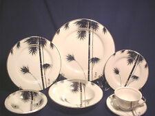 Vtg Japanese Silver Lustre Ware Porcelain 7Pc Place Setting W/ Bamboo Tree Motif