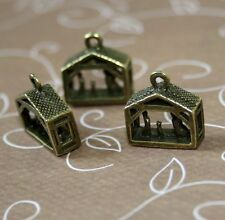 pack of 10 - Antique Bronze Charm Christmas Nativity Scene