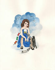 ORIGINAL PAINTING RYTA GOODBYE CHILDHOOD TUXEDO CAT ILLUSTRATION POP ART HP CROW