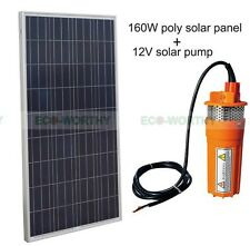 Solar Pump System Kit:160W Solar Panel + 12V Submersible  Solar Well Water Pump