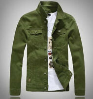 New Mens Korean Slim Fit Casual Jacket Denim Jeans Long Sleeve Outwear Tops Coat