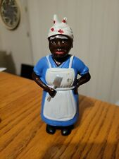 """Vintage CAST IRON STILL BANK Penny Coin BLACK AMERICANA Cooking WOMAN 5 3/4"""""""