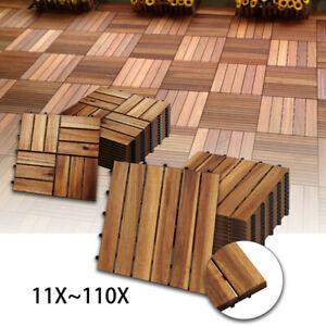Holzfliesen 11x Terrassenfliese Garten Akazie Bodenfliesen 30x30cm Platten Holz
