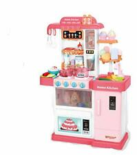 Kids Play Kitchen Children's Kitchen Cooking Toy Cooker Play Set Sounds UK Pink