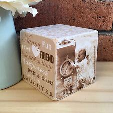 Handmade Wooden Personalised Mum Mummy Grandma Nanny Nan Photo Cube Gift Present