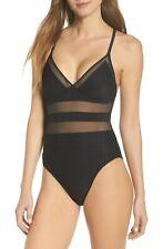 Bleu By Rod Beattie 170616 Womens Mesh Inset One-Piece Swimsuit Black Size 4