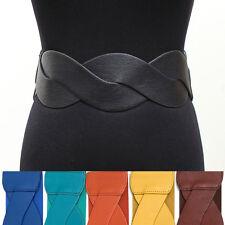 WOMEN Fashion ELASTIC Twisted WIDE Cinch BELT stretch Waist Gold metal button