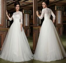 Cheap Custom Size Lace 3/4 Sleeve Wedding Dresses Floor Length Bridal Gown