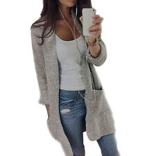 New Women Long Sleeve Knitted Sweater Long Chunky Boyfriend Cardigan Coat Jumper