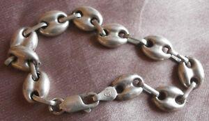 """Bracelet argent massif motif """" Grain de café / chaîne d' ancre """" Sterling 925"""