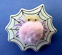 Hallmark PIN Halloween Vintage SPIDER WEB Googly Eyes Pom Pom Holiday Brooch