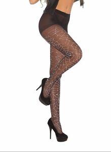 Glow in the Dark Spider Web Print Pantyhose Hosiery Black Witch Costume 1761