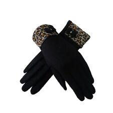 Animal Leopard Print Trim Bow Detail Ladies Women's Wool Finger Gloves Mittens