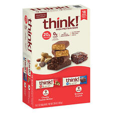 thinkThin High Protein Bars, Chunky Peanut Butter&Brownie Crunch,2.1oz Bar(18Ct)