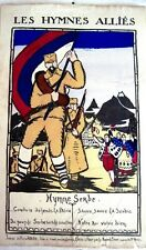 """RARE 1916 poster """"Les Hymnes Allies"""" by Pierre Abadie French Illustrator *"""