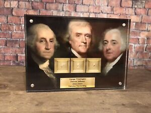 "GEORGE WASHINGTON THOMAS JEFFERSON JOHN ADAMS  ""USA"" SIGNED HISTORIC JSA PSA"