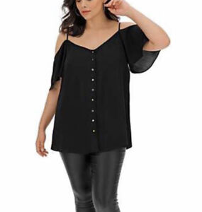 SIMPLY BE LADIES BLACK COLD SHOULDER BUTTON FRONT BLOUSE TOP PLUS SIZE 30 NEW