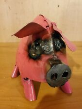Metal Pig Yard Art Folk Art Welded Very Cute Pink Garden Statue