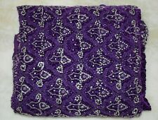Vintage Sari Indian Art Silk Woven VELVET Hand Beaded Embroidered Fabric Blue