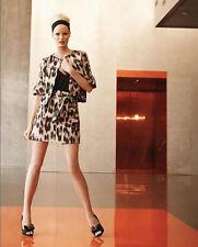 $420 40 xs s 2 RED VALENTINO Brown Leopard Print Taffeta Mini Skirt animal belt