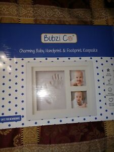Bubzi Co. Charming Baby Clay Handprint & Footprint Keepsake Picture Frame NEW